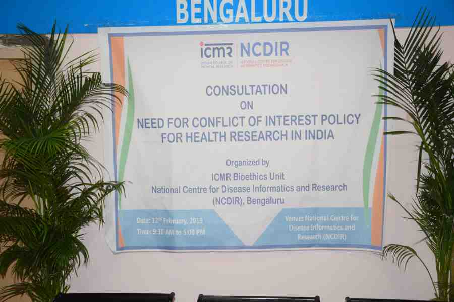 "Consultation on ""Need for Conflict of Interest Policy for Health Research in India"" at NCDIR, Bengaluru on 12th February, 2019"